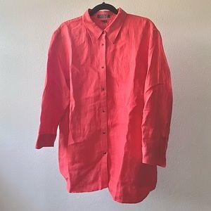 Ralph Lauren coral linen button-down shirt